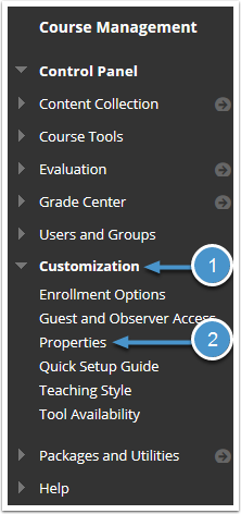 Customization menu expanded