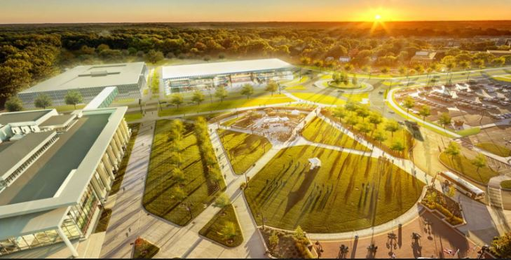 Proposed rendering of updated campus green