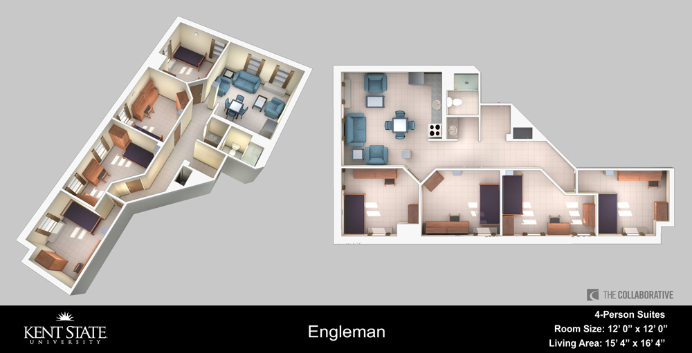 View the Engleman 4-person suite with large rooms diagram in high resolution