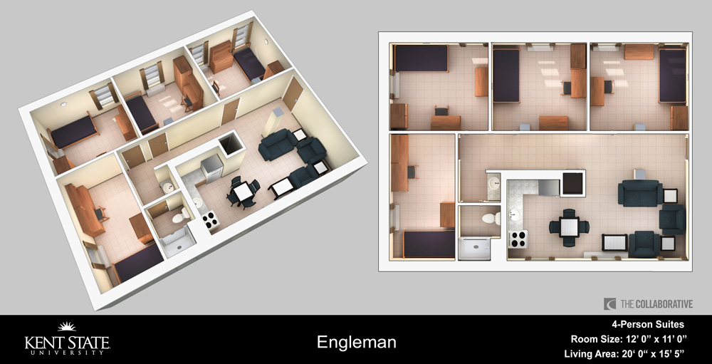 View the Engleman 4-person suite with large living area diagram in high resolution