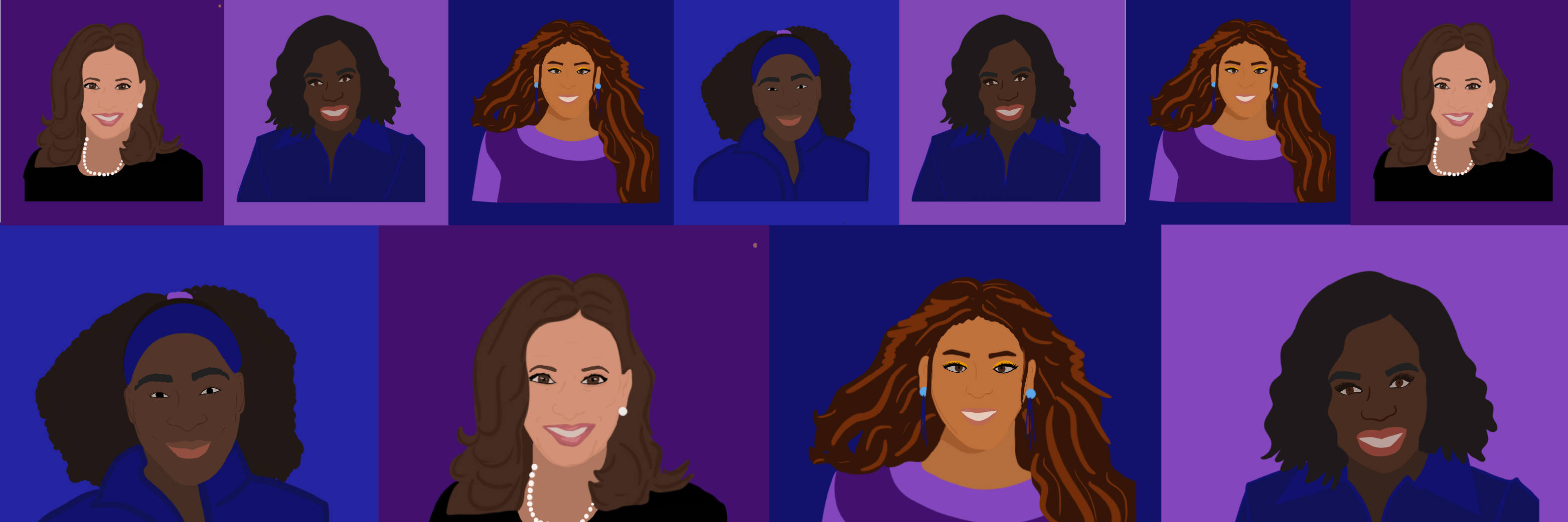 Black History Month banner image of multiple headshots with purple and blue backgrounds.