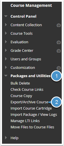 Packages and Utilities menu expanded