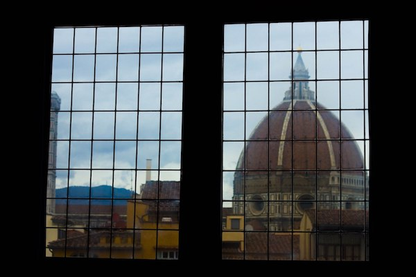 rooftop in florence seen through window