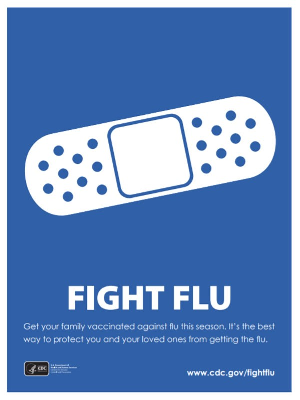 fight flu cdc Adhesive Bandage