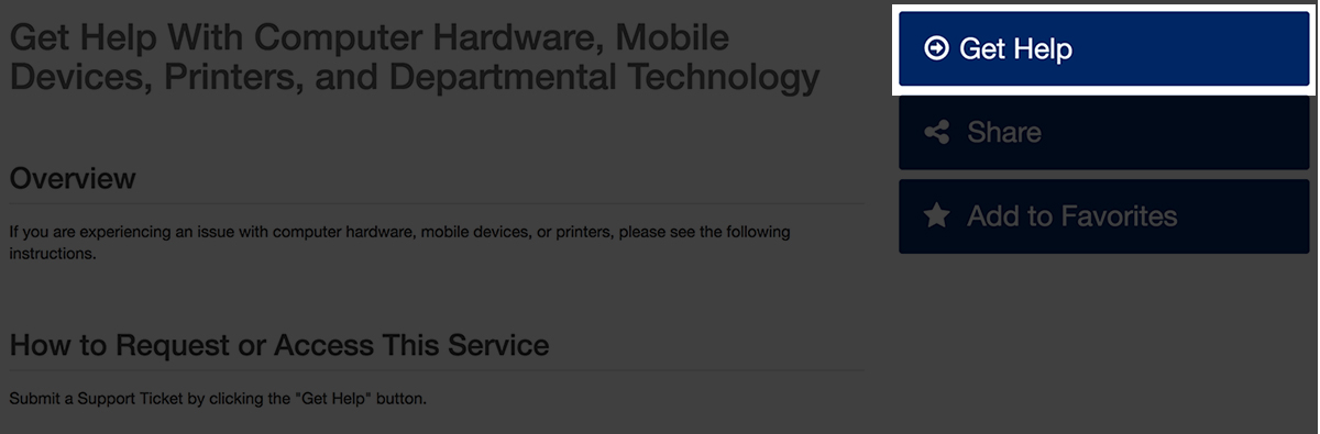 """""""Get Help"""" button in Service Catalog view"""