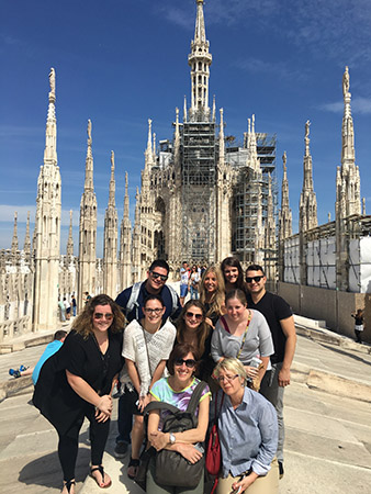 Kent State University students who interned in Florence, Italy, over the summer and two Kent State Florence staff members visit the Duomo di Milano.