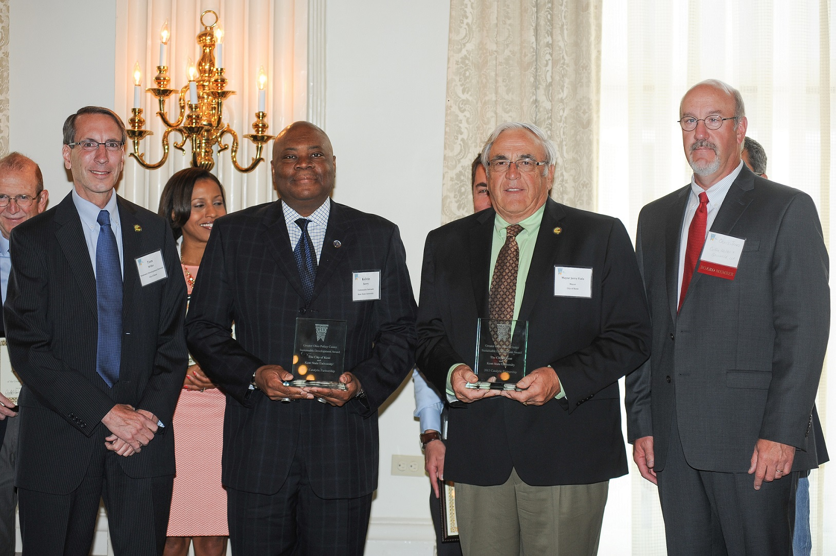 Photo of award presentation to city of Kent and Kent State - photo credit: Ohio Development Services Agency