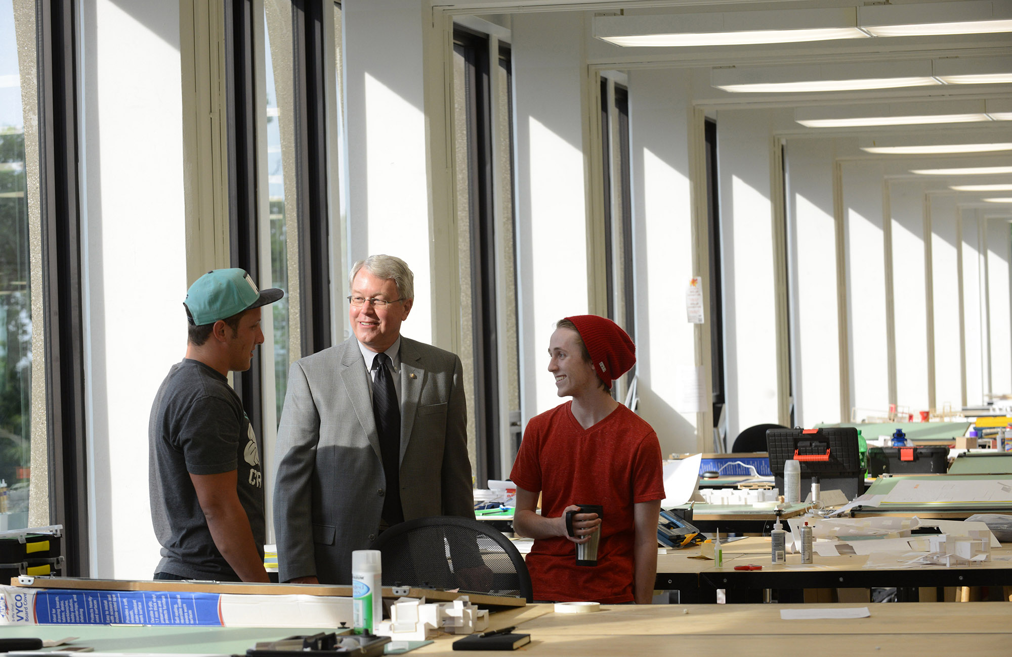 Photo of Doug Steidl with students