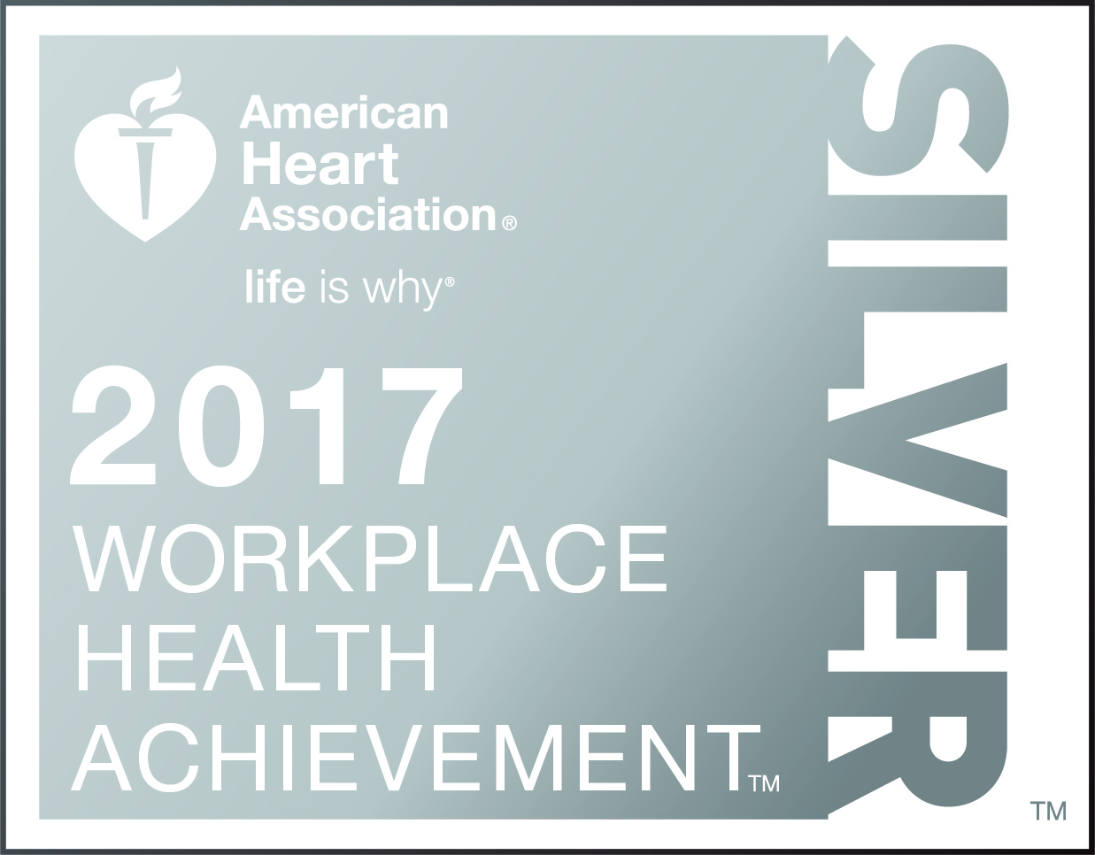 Logo for American Heart Association 2017 Workplace Health Achievement - Silver