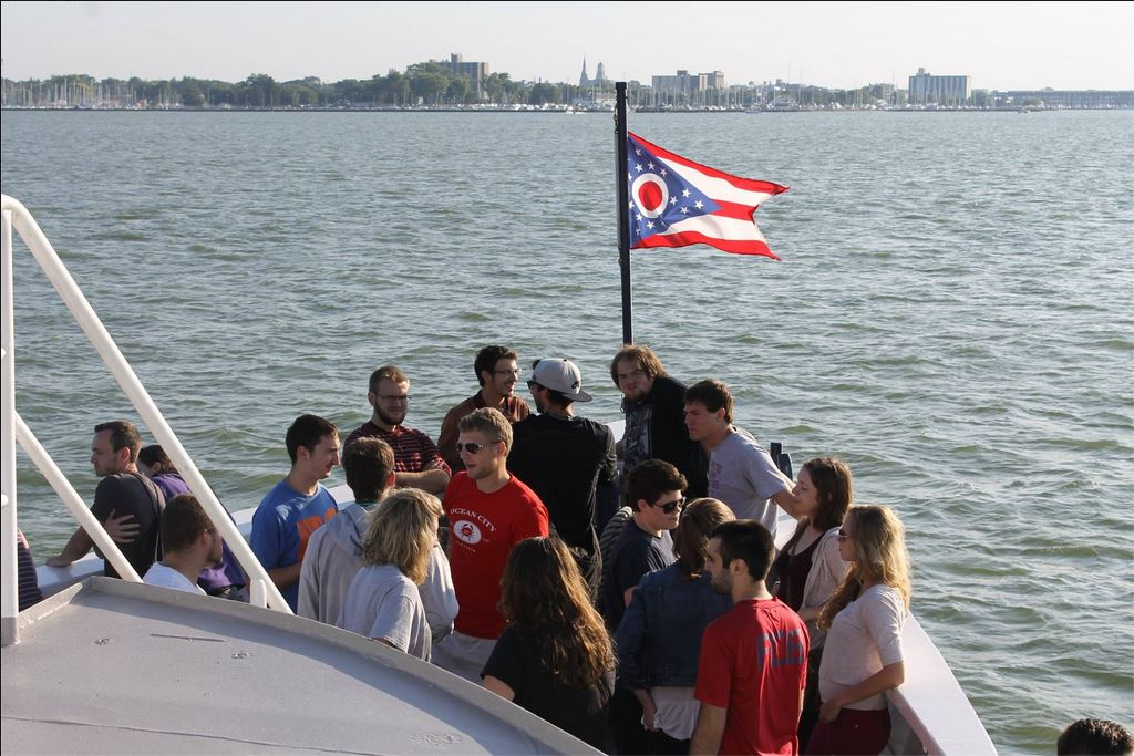 Photo of Kent State architecture class taking tour of Sandusky Bay