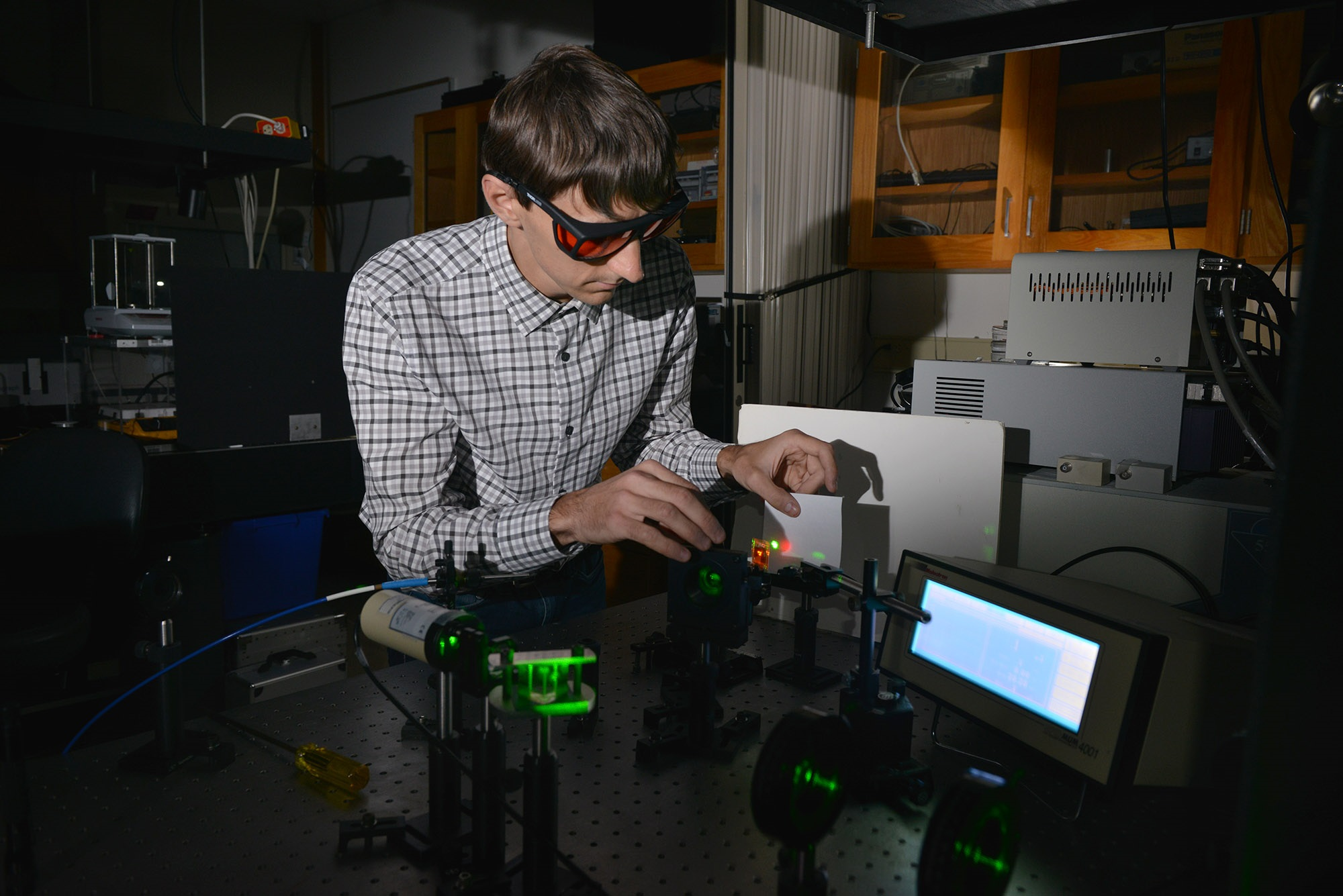 Photo of Kent State graduate student in lab