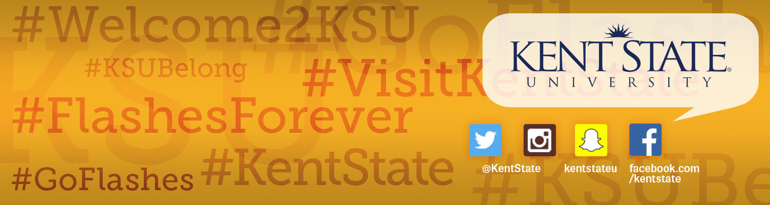 Kent State University's main social media platforms are Facebook, Instagram, Snapchat and Twitter. Many hashtags are used to group conversations related to Kent State.