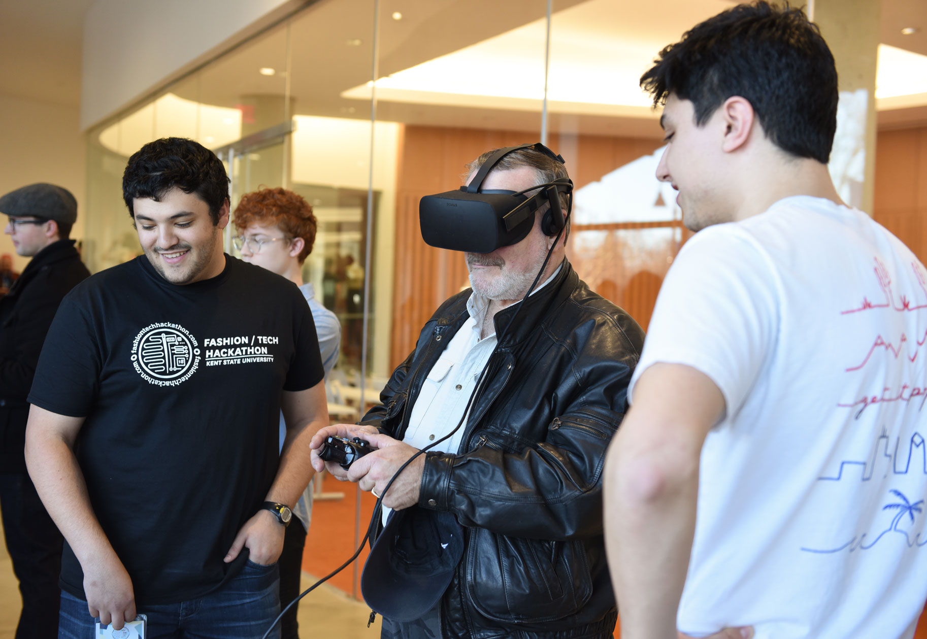 Hackathon Judge Testing out a group's virtual reality project