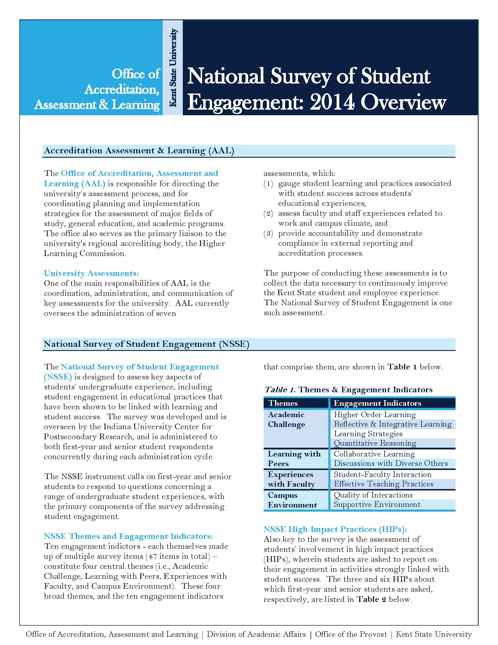 2014 NSSE Findings