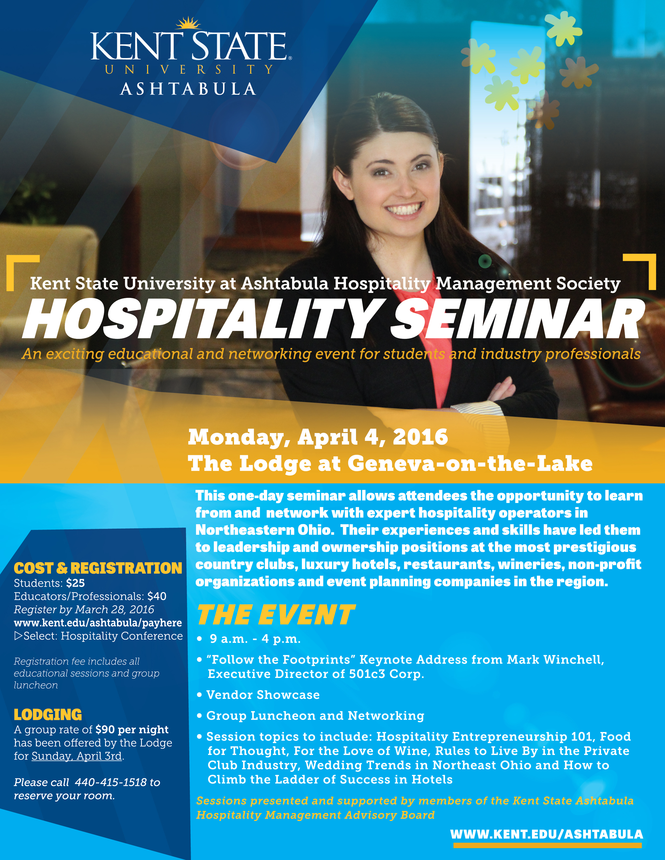 Kent State Ashtabula Hospitality Seminar 2016 Flyer