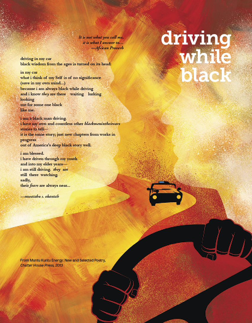 driving while black by Mwatabu Okantah, illustrated by Zuzanna Kubisova '17