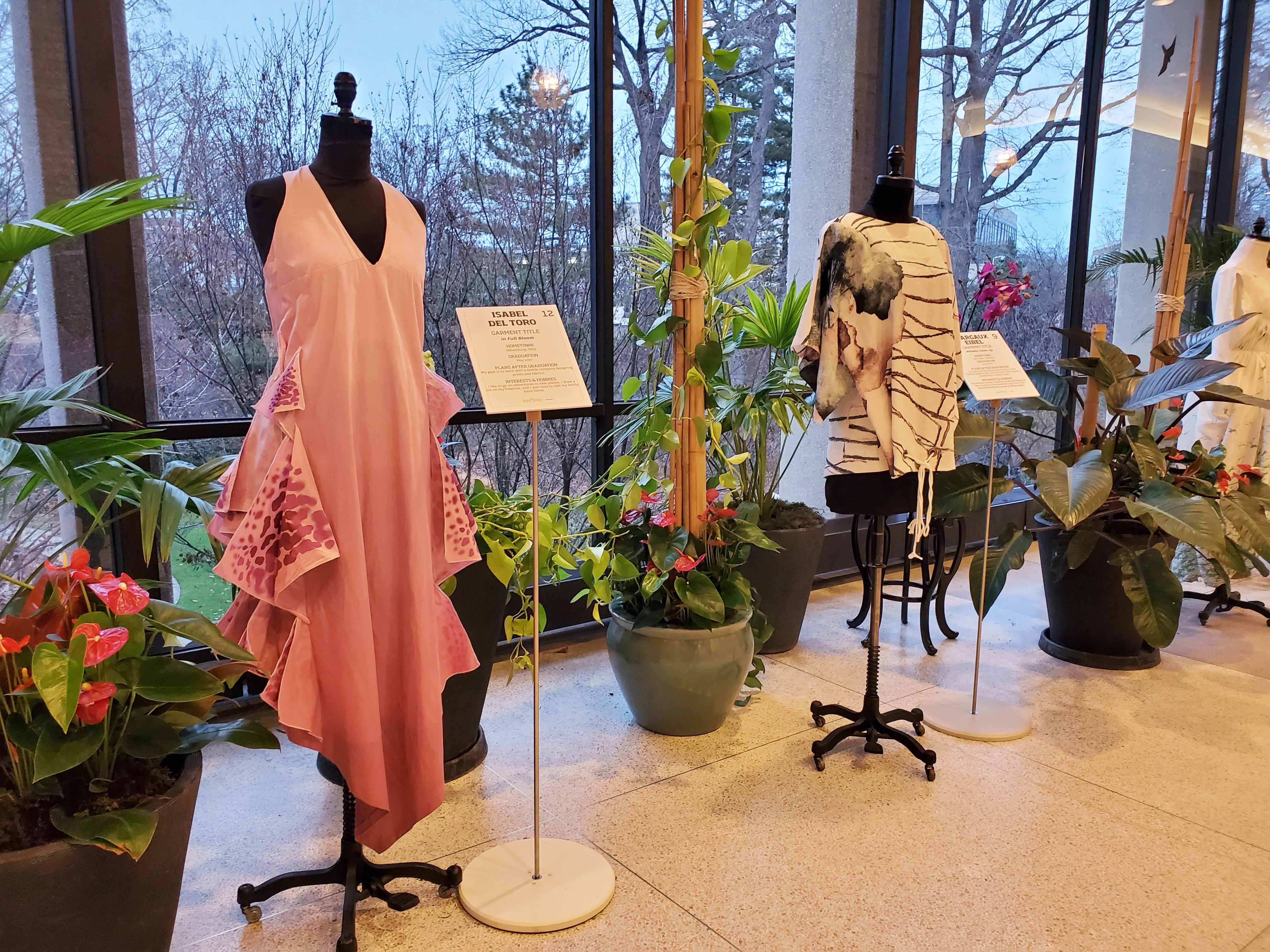 Fashions from the 2020 Fashion Meets the Botanicals exhibit