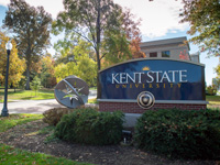 Kent State main campus sign on a sunny day
