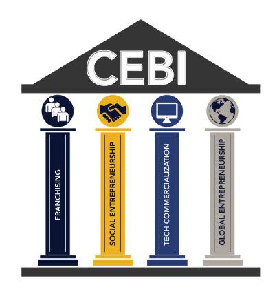 The CEBI Four Pillars Logo representing Franchising, Social Entrepreneurship, Tech Commercialization, and Global Entrepreneurship