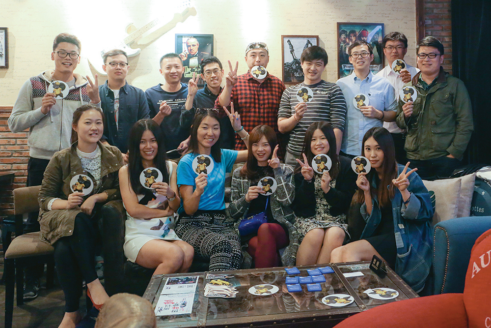 Kent State alumni in Shanghai, China, got together on October 11, 2015, at their club's kick-off event at Movie Coffee, a small movie-themed coffee shop near the Shanghai Film Art Center.