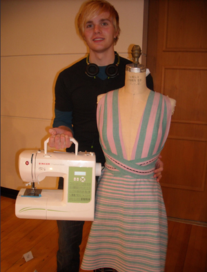 Aaron Nicholas was the winner for most creative draping in the Coats and Clark Design Challenge, receiving a Singer sewing machine and a supply of all-purpose thread.