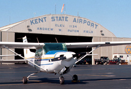 A plane on the tarmac at the Kent State Airport