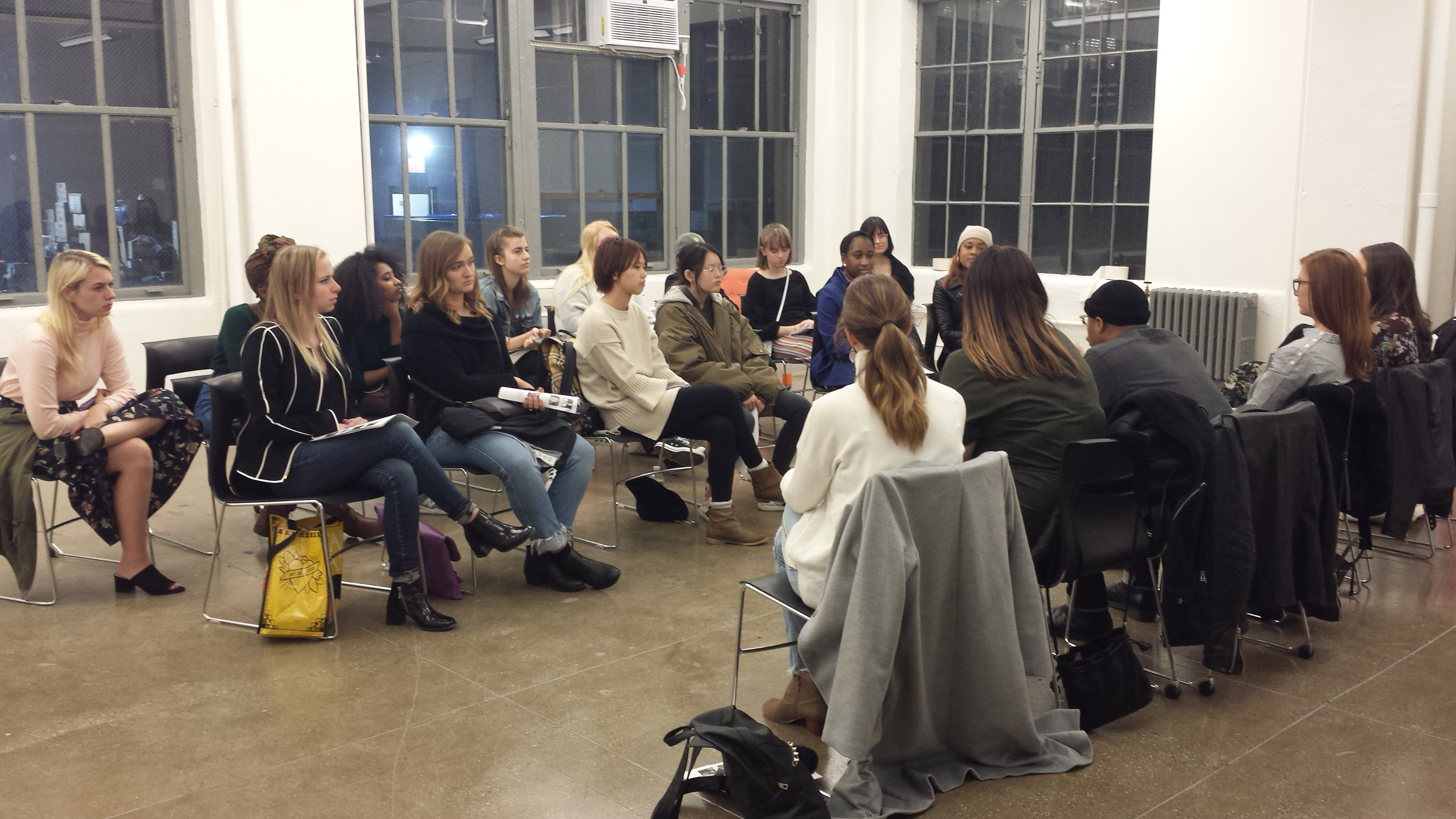 Students participating in the NYC Studio's Alumni Panel