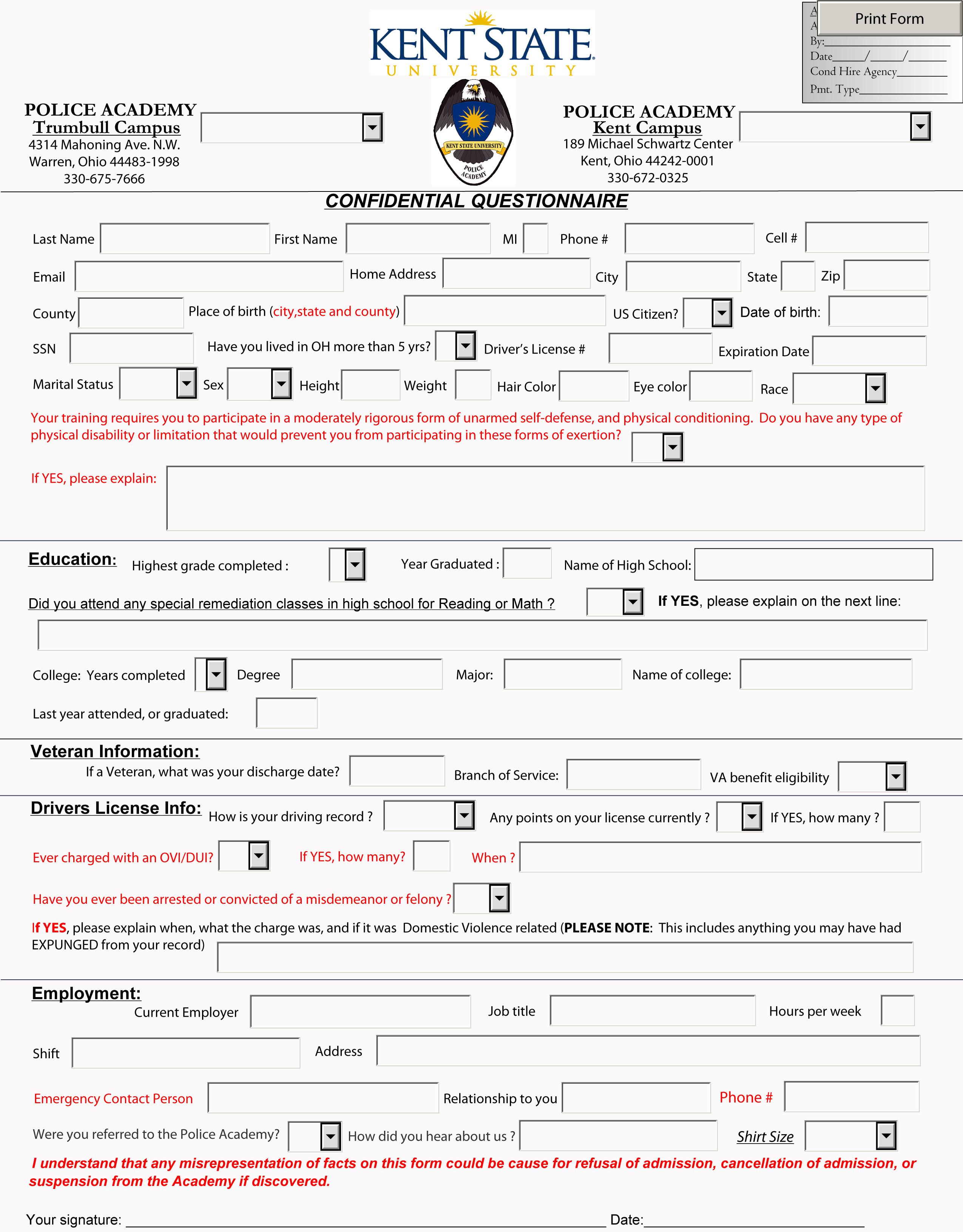 Police Academy Application