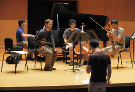 Pianist Spencer Myer instructs a student quartet during the 2011 Kent/Blossom Music Festival. Applications are now being accepted for the 2013 season.