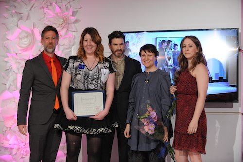 Best in Show award winner Jenna Furpahs with Fashion School Director J.R. Campbell and designer critics James Coviello, Tara St James and Lauren Grover