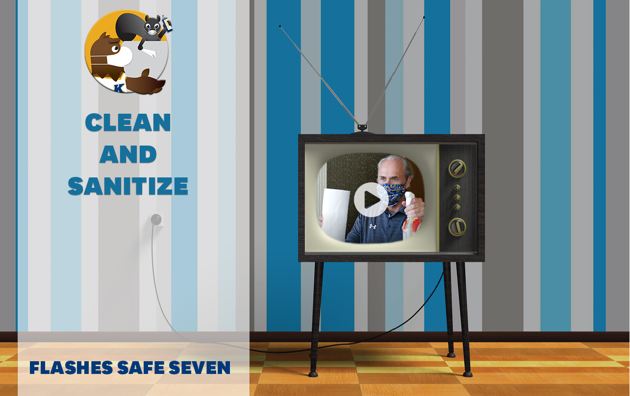 Flashes Safe Seven: Clean and Sanitize. TV screen with embed of President Diacon ready to clean his office, armed with paper towels and cleaning spray. Image placed with playhead over the TV to indicate video link.