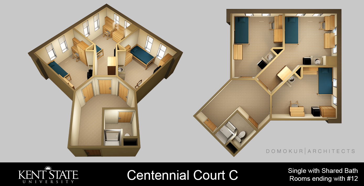 View the Centennial Court C Single with shared bath diagram in high resolution