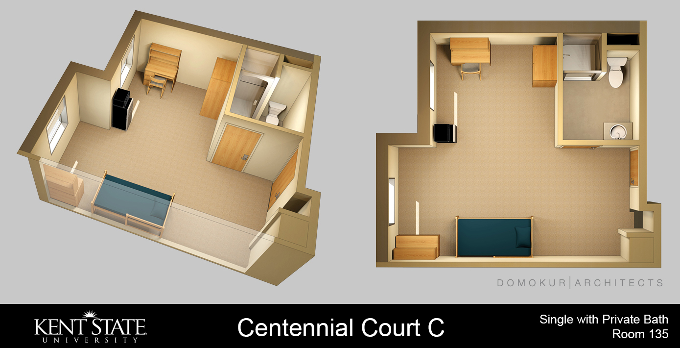 Diagram of single room with shared bath