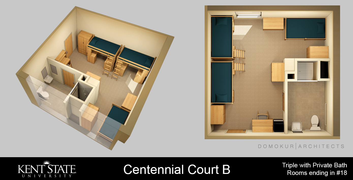 CCB Triple with Private Bath. Rooms ending in #18