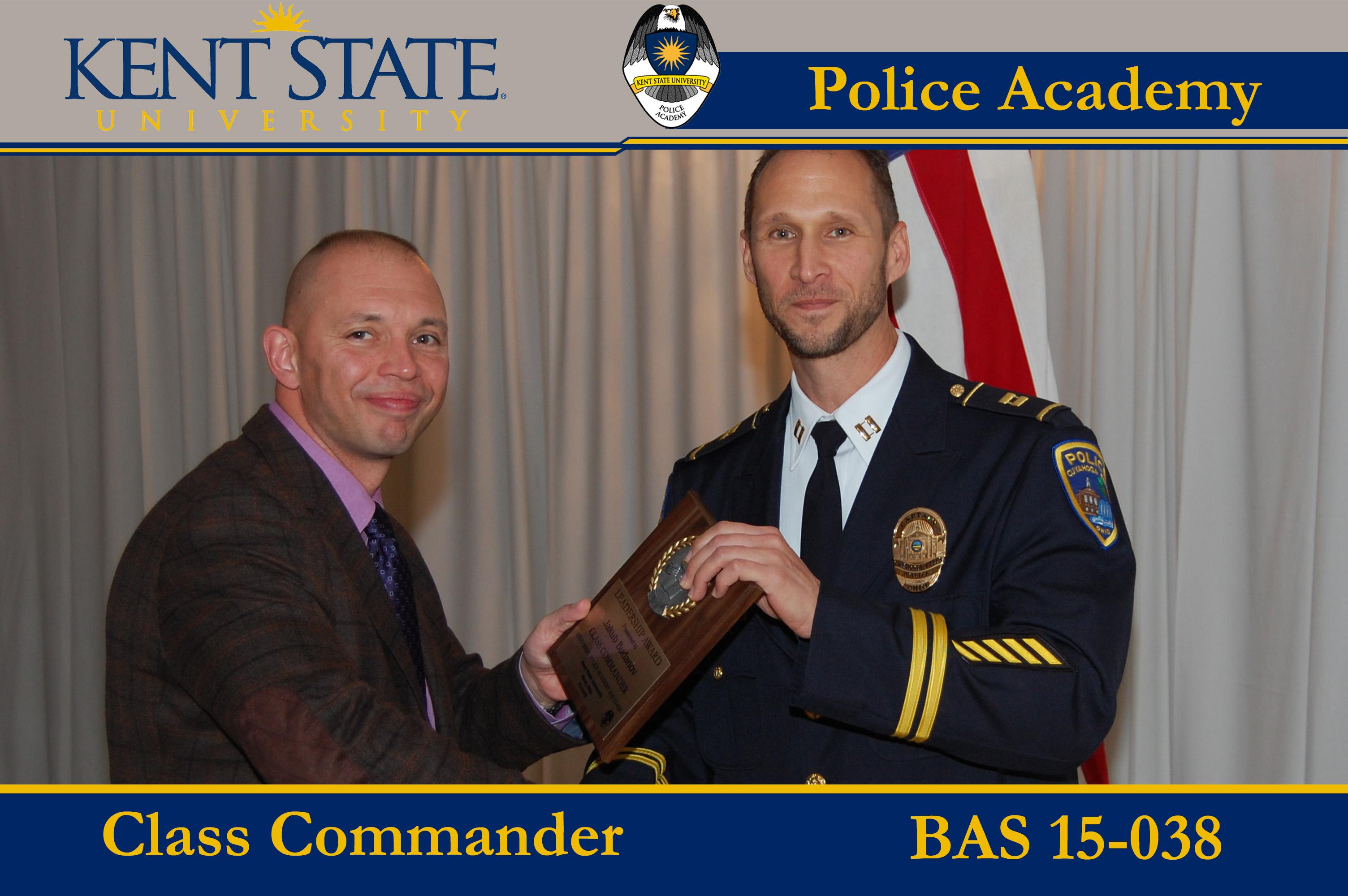 Cadet Pictured Receiving Class Commander Award BAS 15-038