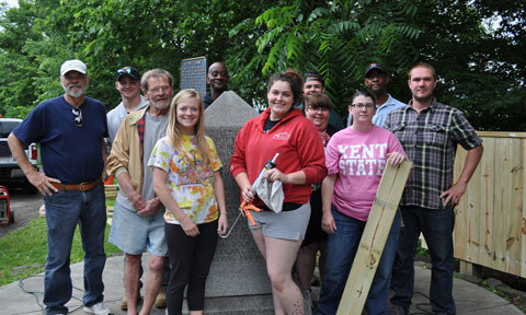 Working on the Point of Beginning project in East Liverpool were (front, from left) Stan Jones, Seth Parris, Joe Kelley, Claire Smith, Maurice Peoples, Autumn Dixon and (back, from left) Tyler Crock, Donna Lohman, Samantha Keshock, Gerald Perkins and Eric Helbig