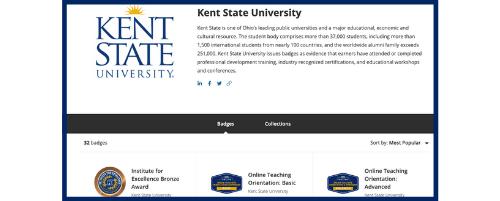Kent State University Digital Badge Credly Acclaim Platform