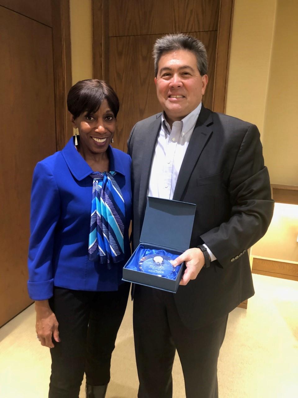 Alfreda Brown awards Gary Stiffler DAB Achievement Award