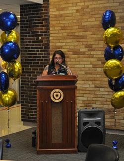 Sylvia Hernandez speaking on behalf of the students