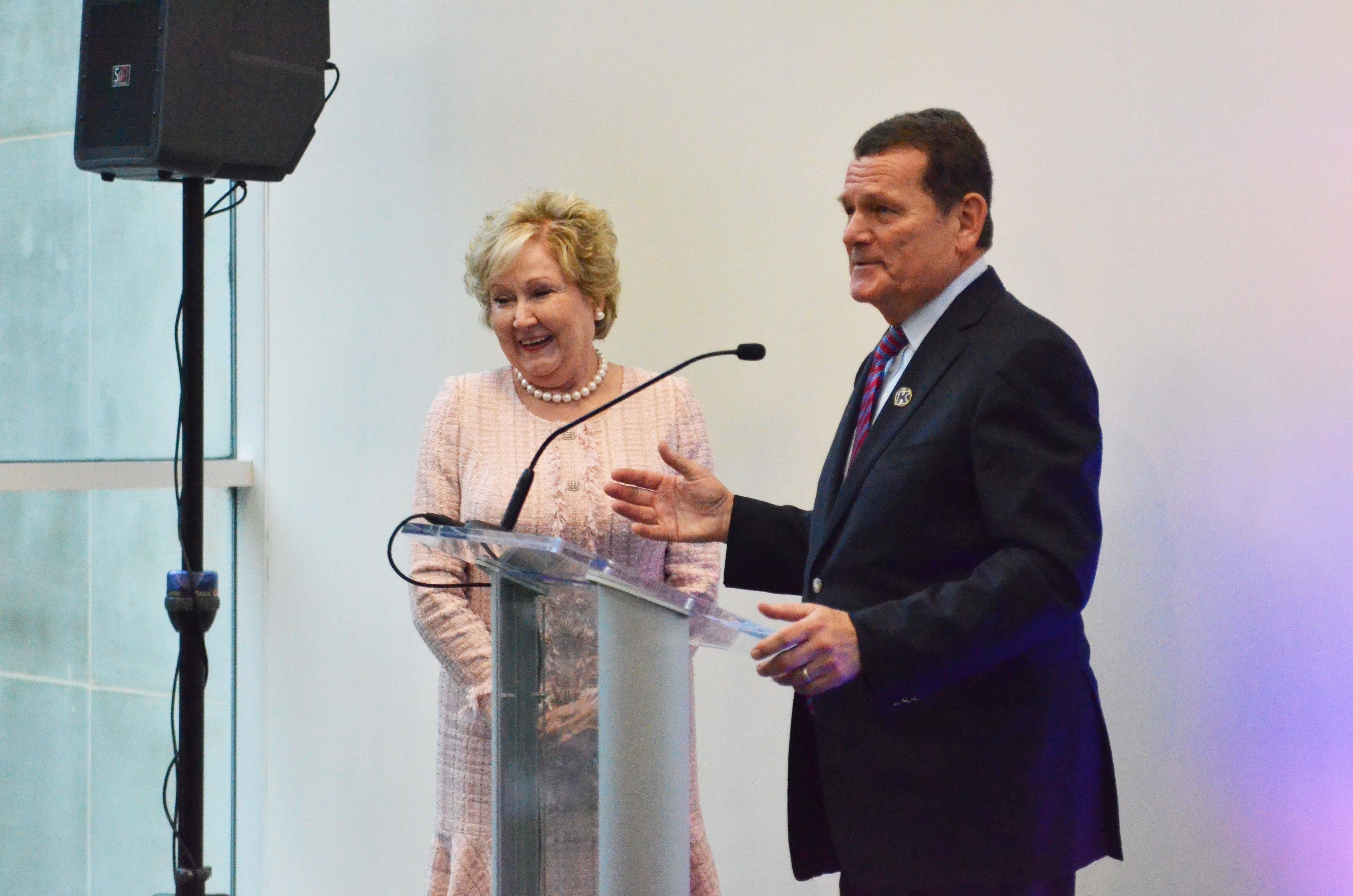 Carol A. and Douglas M. Mancino Speaking During Dedication
