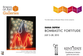 The Kent/Blossom Art Festival's Eells Gallery will present work by Kent State alumna and Cleveland-based artist Dana Depew through July 28.The Eells Gallery is located on the grounds of the Blossom Music Center.