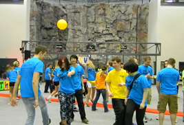 Kent State students dance during the Flash-A-Thon dance marathon at the Student Recreation and Wellness Center. The students raised more than $13,800 for the Showers Family Center for Childhood Cancer and Blood Disorders at the Akron Children's Hospital.