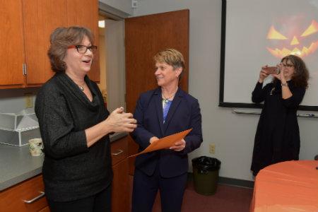Barbara Davis with President Beverly Warren