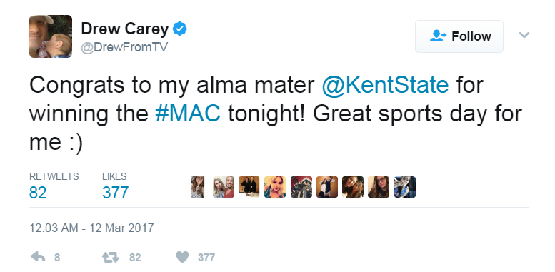 Drew Carey congratulates the Kent State men's basketball team.