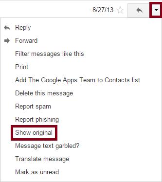 Gmail Dropdown Menu