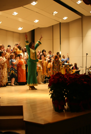 Founder and director of the Kent State University Gospel Choir Linda Walker, Ph.D., directs the choir during a performance.The choir's biannual concert will take place on Friday, Dec. 7, at the University Auditorium in Cartwright Hall.