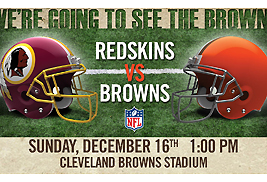 Members of the Kent State community can get discount tickets to the Cleveland Browns vs. Washington Redskins game on Sunday, Dec. 16.