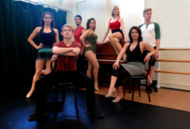 (Left to right) Jennie Nasser, Kyle Kemph, Nathan Mehebbi, Lucy Anders, Mackenzie Duan, Lauren Culver and Sam Rohloff are just a few of the members of the Young Professional Company performing the wonderful music of Kander and Ebb in Porthouse Theatre's production of And the World Goes 'Round, July 5 – 21.   (Photo by Matt Unger)