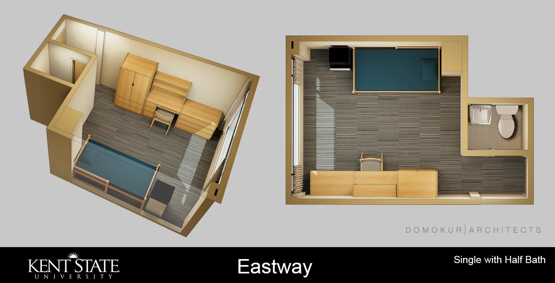 Diagram of double room with half bath