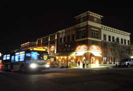 Downtown Kent is pictured at night. The city of Kent will hold its annual Festival of Lights event on Dec. 7.
